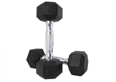 2 Sets (2each ) CAP Barbell Rubber Coated Hex Dumbbells 5/8 lbs.